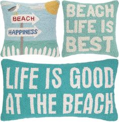 Hooked Beach Pillows with Quotes... http://www.beachblissdesigns.com/2016/10/hooked-wool-beach-pillows-with-quotes.html