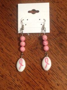 Handmade Breast Cancer Awareness Earrings by FadedBead on Etsy