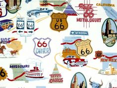 Route 66 Alexander Henry Fabrics by FABRIKSHOP on Etsy https://www.etsy.com/listing/241815176/route-66-alexander-henry-fabrics