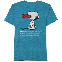 Jem Men's Peanuts Hangry Snoopy T-Shirt (88 AED) ❤ liked on Polyvore featuring men's fashion, men's clothing, men's shirts, men's t-shirts, capri blue and mens t shirts