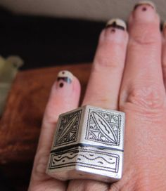 Tuareg Tribal Silver Ring with Ebony Inlay by TuaregJewelry, $138.00