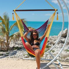 Caribbean Hammock Chair with Footrest (RAINBOW POLYESTER)