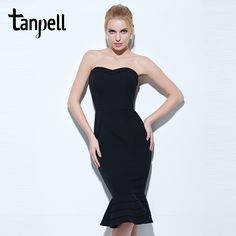 $47.2 - Awesome Tanpell strapless cocktail dress black sleeveless knee length mermaid gown women hourglass party formal short cocktail dresses - Buy it Now!