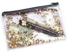Golden star / Pencil case Transparent wallet Clear bag by RossMiu Pencil Bags, Pencil Pouch, Clear Pencil Case, Cute Stationary, Color Lila, Cute School Supplies, Golden Star, Clear Bags, Purse Organization