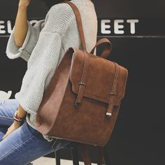 Cheap school bags for teenagers, Buy Quality vintage school bags directly from China bags for teenagers Suppliers: Brand Women Backpacks Solid Mochila Feminina Vintage School Bags for Teenagers Girls Bagpack Black PU Leather Women Backpack