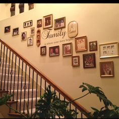 Phrase, Family is where your story begins, and photos going up the stairs. Just finished it. Very happy with how it turned out!