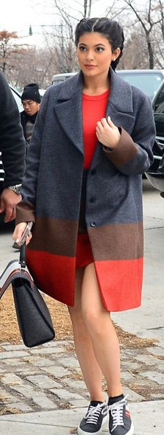 Who made  Kylie Jenner's gray ombre coat and red stripe handbag?