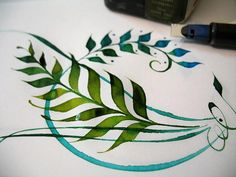 "Project by Alice Young from ""Strong Lines 2: Colour & Curves with the Pilot Parallel Calligraphy Pen"""