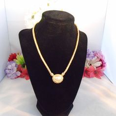 """Vintage JOAN RIVERS Goldtone Necklace w/3 Pendants to change. One Faux Pearl, One Rhinestone and One Silvertone Heart. 16"""""""
