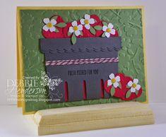 Stampin' Up! Berry Basket Die and Punch Art Strawberries. Debbie Henderson, Debbie's Designs.
