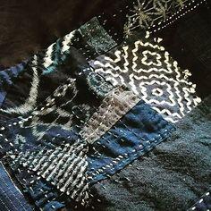 hananiwa.sashikoA part of tapestry. There are nothing to throw away. Even scraps always have a role. #sashiko #boro #Japanblue #kasuri #tapestry #scraps #remake