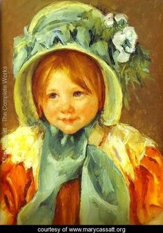 Sarah In A Green Bonnet - Mary Cassatt - www.marycassatt.org