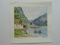 Aquarell Zeichnung Demel Österreich nach Fritz Lach Hallstatt Salzkammergut Hallstatt, Fritz, Vintage World Maps, Painting, Ebay, Watercolour, Drawing S, Painting Art, Paintings