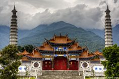 Gantong Temple with the Cangshan Mountains in the background near Dali Old Town in China's Yunnan Province.
