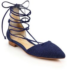 Schutz Neida Lace-Up Flats (150 CHF) ❤ liked on Polyvore featuring shoes, flats, sandals, apparel & accessories, blue, blue flat shoes, blue flats, lace up flat shoes, flat heel shoes and flat pumps