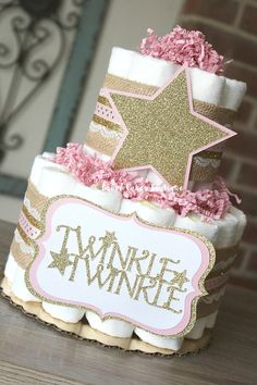 2 Tier Pink and Gold Twinkle Twinkle Diaper Cake Gold Burlap