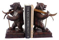 Pair of Ski Bear Bookends on OneKingsLane.com. I would really love these...if the boys would give up groceries for two weeks.