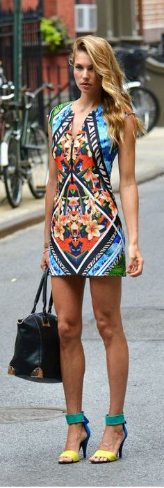 Street style | Aztec floral mini dress, strapped heels, handbag