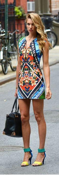 Street style | Aztec floral mini dress, strapped heels, handbag