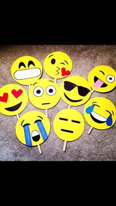 A friend of mine on Facebook made these Emoji Photo Booth props for a birthday party!