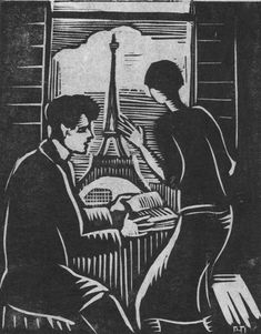 Woodcut of woman in Paris Helena Bochořáková-Dittrichová 1894-1980 Czech illustrator, &  graphic artist the first woman to create a wordless novel, a genre that emerged in 1920s Europe & presaged the contemporary graphic novel. from manuscript, called Malířka Na Cestách (The Artist on Her Journey), tells the story of a young woman who moves to Paris to study art on a government grant