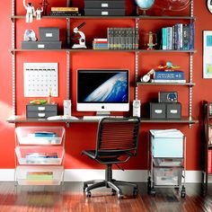 White Elfa Décor Freestanding Home Office | Container Store, Wall Mount And  White Desks