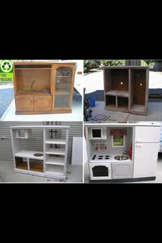 Old entertainment center made in kids kitchen