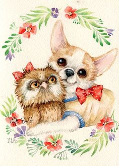 ideas for baby animals ilustration dogs Cute Images, Cute Pictures, Illustrations, Illustration Art, Baby Animals, Cute Animals, Chihuahua Art, Paper Owls, Owl Art