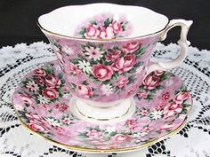 ROYAL ALBERT GARDEN PARTY GAY DAY PINK FLORAL CHINTZ TEA CUP AND SAUCER | eBay