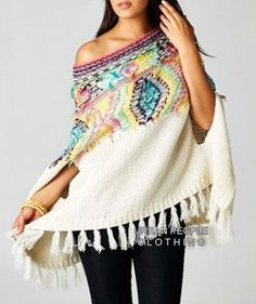 URBAN PEOPLE Winter White Aztec Fuzzy Boho Slouchy Poncho/Sweater One Size #UrbanPeopleClothing #Poncho Boho Outfits, Trendy Outfits, Fashion Outfits, Women's Fashion, Chelsea, How To Purl Knit, Poncho Sweater, Autumn Winter Fashion, Winter Style