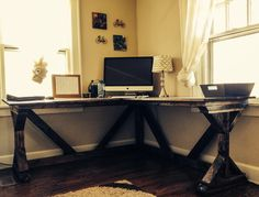 DIY corner desk using @Ana White  Fancy X desk plan. Perfect with a vintage office chair!