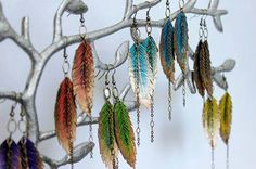 Vegan Feather earrings by Endless Summer Design now at The Chameleon 4728 Voltaire St. San Diego Ca 92107  619-223-7006 https://www.facebook.com/pages/The-Chameleon-Hair-Lounge-Boutique/103598051309