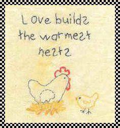 love builds the warmest nests stitchery pattern