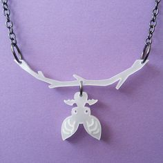 Hanging Bat Necklace in White. $14.00, via Etsy.