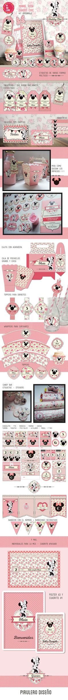 Kit imprimible Minnie Shabby Chic Rosa #kitimprimible #shabbychic #shabby #minnie