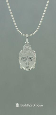 Sterling silver Face of Buddha pendant with two separate layers for a unique three-dimensional quality. Silver Necklaces, Sterling Silver Jewelry, Jewelry Necklaces, Buddha Jewelry, Jewellery Display, Diamond Jewelry, Pendants, Engagement Rings, Earrings