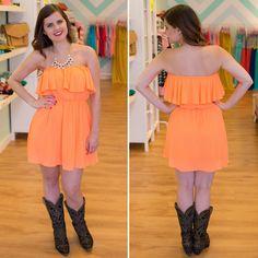 Strapless Neon Orange Dress - BlueGreenAqua boutique