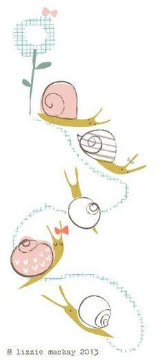 Snail trail by Lizzie Mackay Gravure Illustration, Pattern Illustration, Graphic Design Illustration, Snail Tattoo, Snail Art, Kids Prints, Animal Drawings, Illustrations Posters, Cute Art