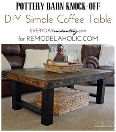 DIY Simple Coffee Table | Learn how to build a wood slab coffee table by Everyday Enchanting for Remodelaholic.com