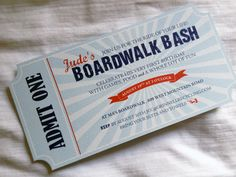 beach boardwalk party Birthday Party For Teens, Little Girl Birthday, Birthday Fun, Boardwalk Theme, Beach Boardwalk, Custom Tickets, Vintage Beach Weddings, End Of Year Party, Farewell Parties