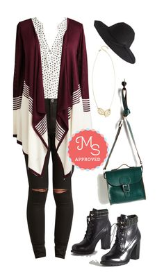"""""""Keep a Mellow Profile Cardigan"""" by modcloth ❤ liked on Polyvore featuring Brit-Stitch"""