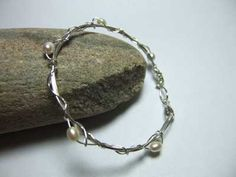 pearl and silver bangle