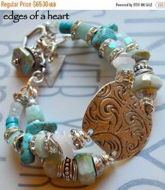 ON SALE bracelet, artisan bracelet, cuff bracelet, coin bracelet, aquamarine bracelet, multi strand bracelet, turquoise bracelet, cuff, bold