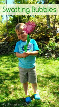 Swatting Bubbles! What a fun activity for energetic kids!