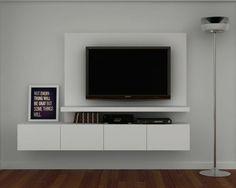 Diy Tv Wall Mount, Wall Mounted Tv, Tv Wall Design, Tv Unit Design, Tv Wall Cabinets, Simple Tv, Modern Tv Units, Rack Tv, Tv Panel