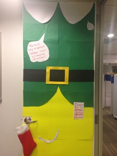 The movie Elf, office themed door. Unfortunately a few folks in the office thought it was a leprechaun. Elf Christmas Decorations, School Door Decorations, Christmas Party Games, Christmas Classroom Door, Office Christmas, Christmas Elf, Christmas Ideas, Elf Movie, Buddy The Elf