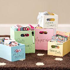 dividir fotos / papéis / etc em caixas coloridas e identificadas