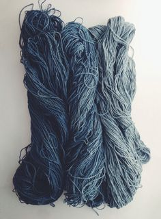 "rdtextiles: "" hand dyed indigo from my recent fermentation vat. silk noil skeins with a soft gradient """