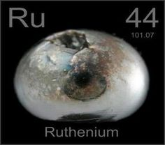Ruthenium Element    A rare transition metal belonging to the platinum group of the periodic table. Discovered: 1844 Symbol: Ru Electron configuration: Kr 4d7 5s1 Atomic number: 44 Melting point: 2,334 °C Chemical series: Transition metal · Metal · Group 8 element · Period 5 element · Heavy metal