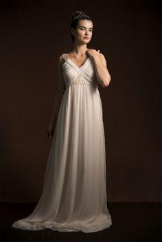 La Poésie Bridal Aimee blush Silk Chiiffon and  lace Wedding Dress // www.lapoesie.co.uk